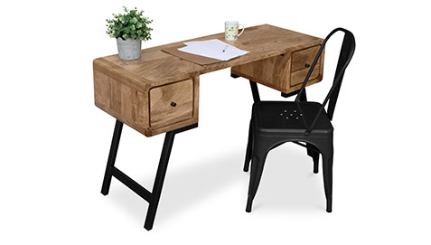 Wooden desk with black metal chair