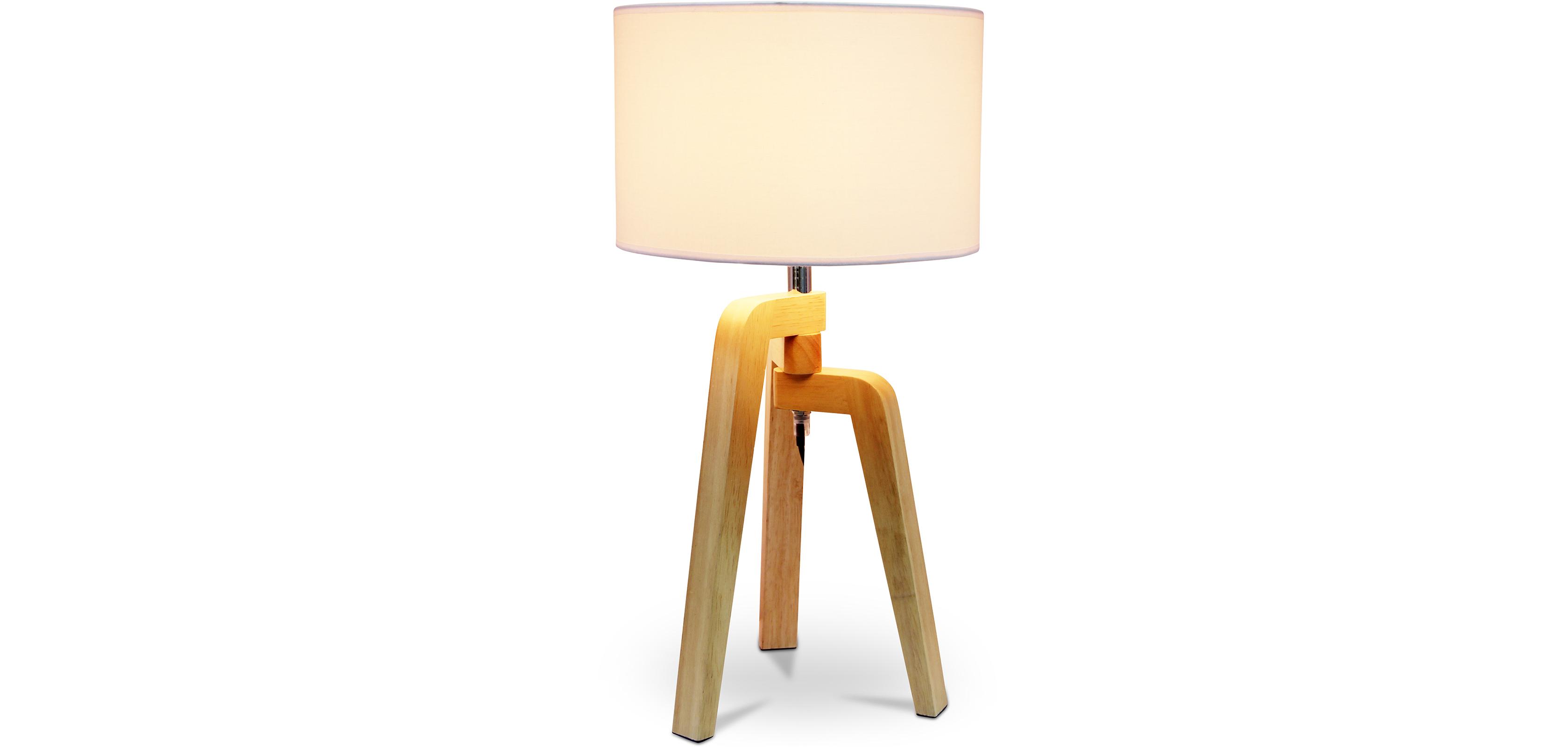 Tripod Desk Lamp Wooden Base Nordic Style
