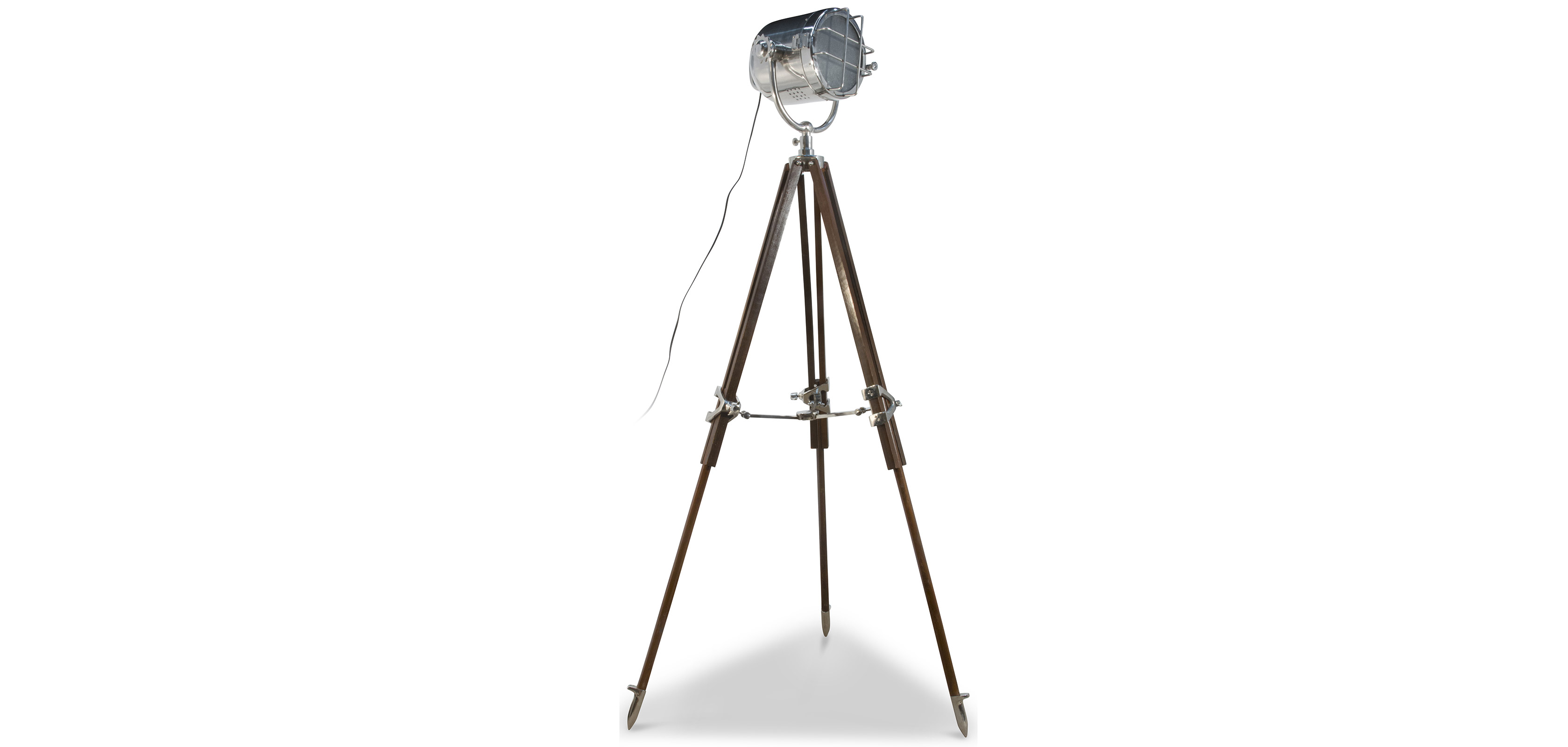 Vintage Tripod Projector Floor Lamp Steel And Wood