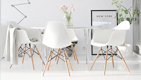 White chairs around a table