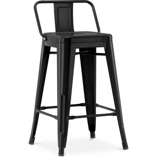 Buy Tolix stool with small backrest Pauchard Style - 60cm Black 58409 with a guarantee