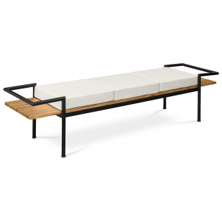 Buy Scandinavian style bench with cushions - Wood and metal Cream 59298 in the Europe