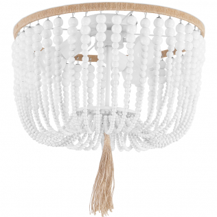 Buy Wood Beaded Ceiling Lamp White 59828 at Privatefloor