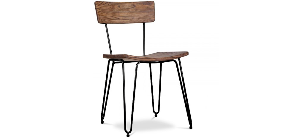 Buy Industrial style hairpin chair - Wood and metal Black 59297 - in the EU