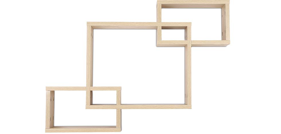 Buy Scandinavian style wall shelf 3 boxes - Wood Natural wood 59645 - in the EU