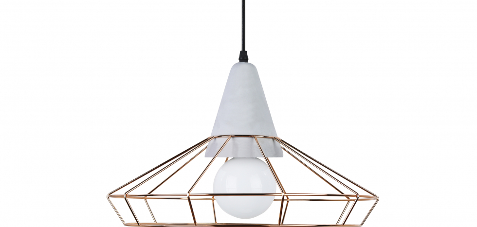 Buy Giotto hanging lamp - Metal and concrete Gold 59590 - in the EU