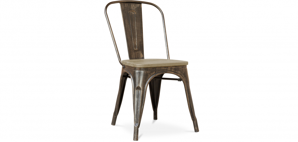 Buy Style Tolix Chair - Metal and Light Wood Metallic bronze 59707 - in the EU