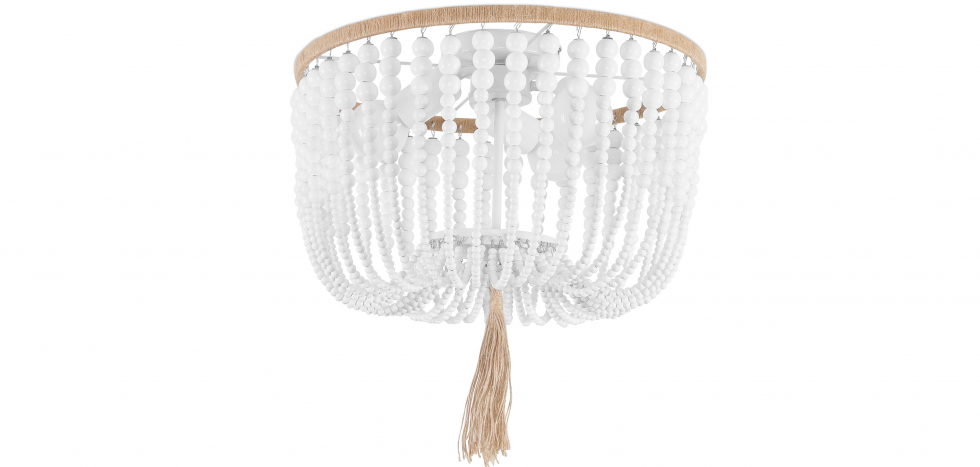Buy Wood Beaded Ceiling Lamp White 59828 - in the EU
