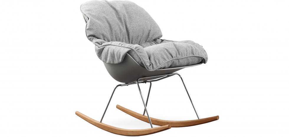 Buy Scandinavian Design Padded Rocking Armchair Grey 59895 - in the EU