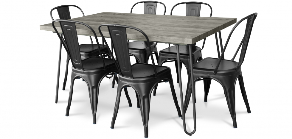 Buy Grey Hairpin 150x90 Dining Table + 6 Tolix Pauchard Style Chair Black 59924 - in the EU
