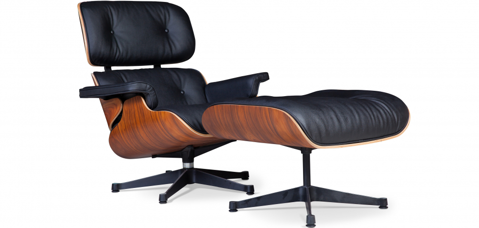 Buy Lounge Chair & Ottoman   - Style-  Premium Leather - Rosewood - Black legs Black 25338 - in the EU