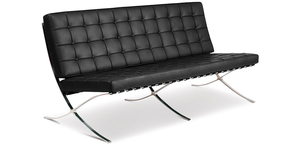 Buy Barcelona Sofa - Ludwig style Mies Van Der Rohe (3 seats) - Premium Leather Black 13266 - in the EU