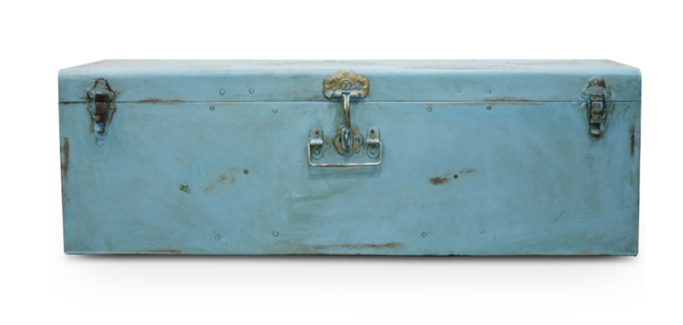 Buy Industrial vintage design locking trunk Blue 58326 - in the EU