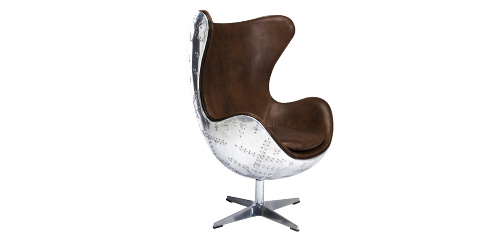Buy Cocoon Chair Aviator Armchair - Microfiber Aged Leather Effect Brown 25627 - in the EU