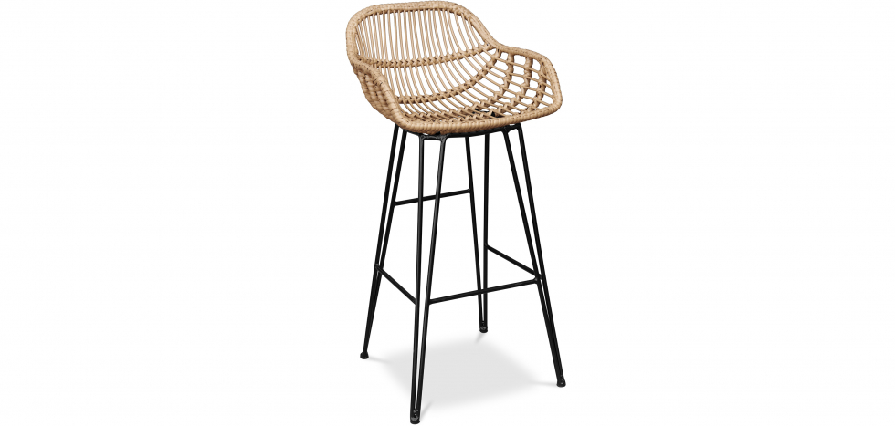 Buy Synthetic wicker bar stool 75cm - Many Natural wood 59256 - in the EU