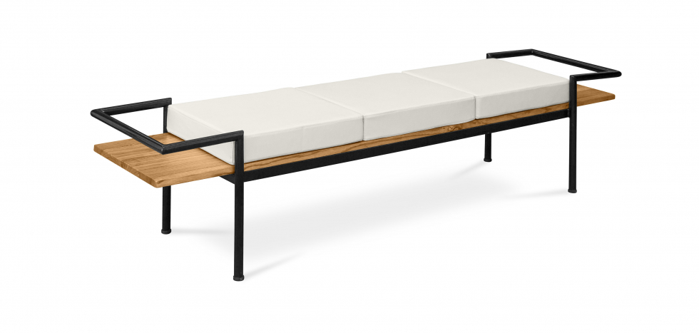 Buy Scandinavian style bench with cushions - Wood and metal Cream 59298 - in the EU